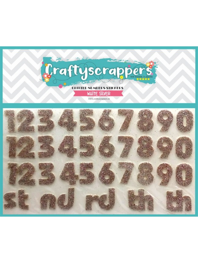 GLITTER-NUMBERS-STICKER-WHITE SILVER