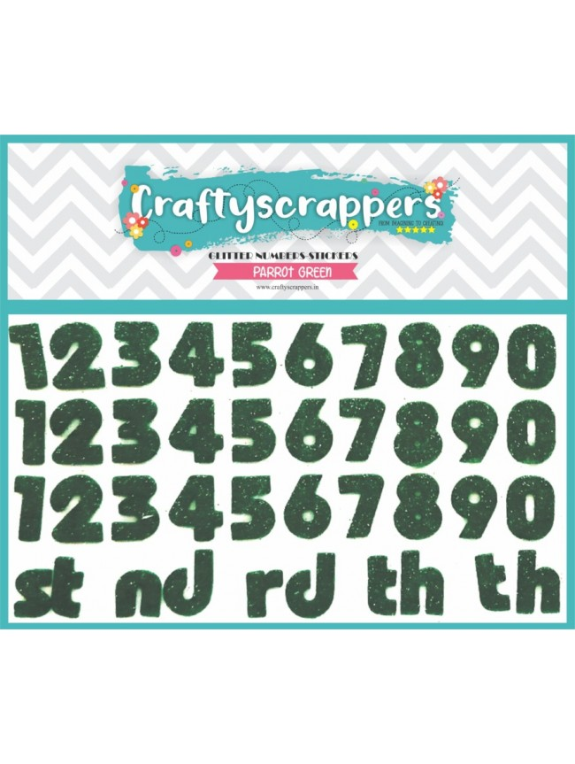 GLITTER-NUMBERS-STICKER-PARROT GREEN