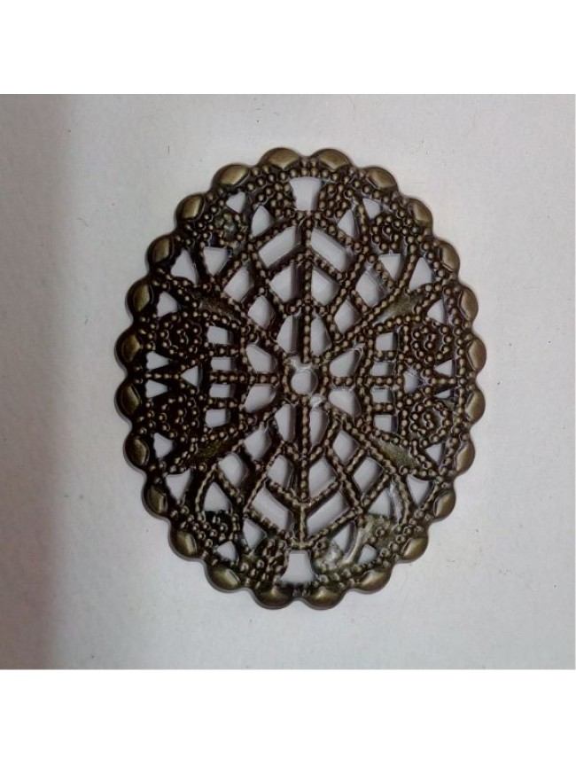 Metal charm-oval filigree