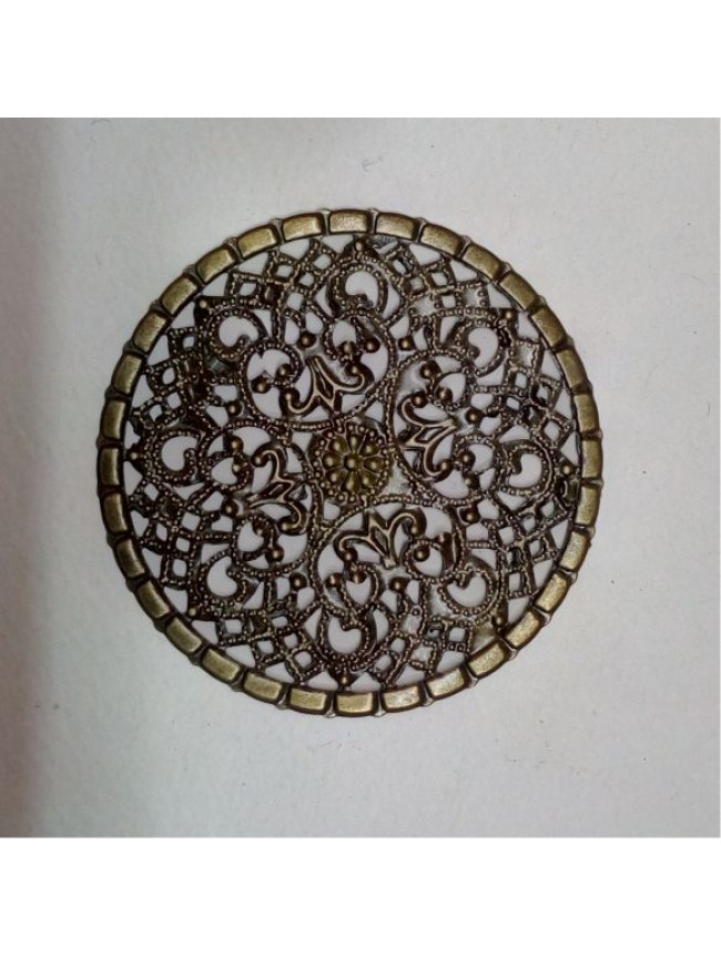 Metal charm-filigree mesh circle