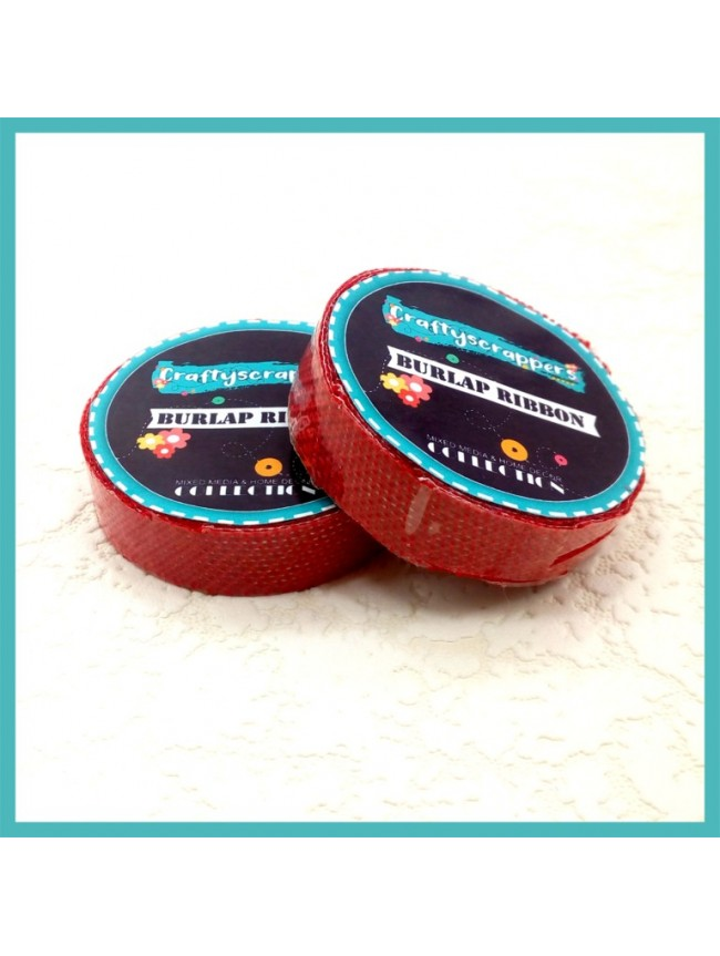 Burlap Ribbon Tape-RED