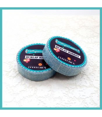 Burlap Ribbon Tape-BLUE
