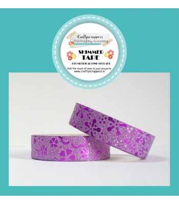 SHIMMER TAPE- GEOMETRICAL PINK FLORALS
