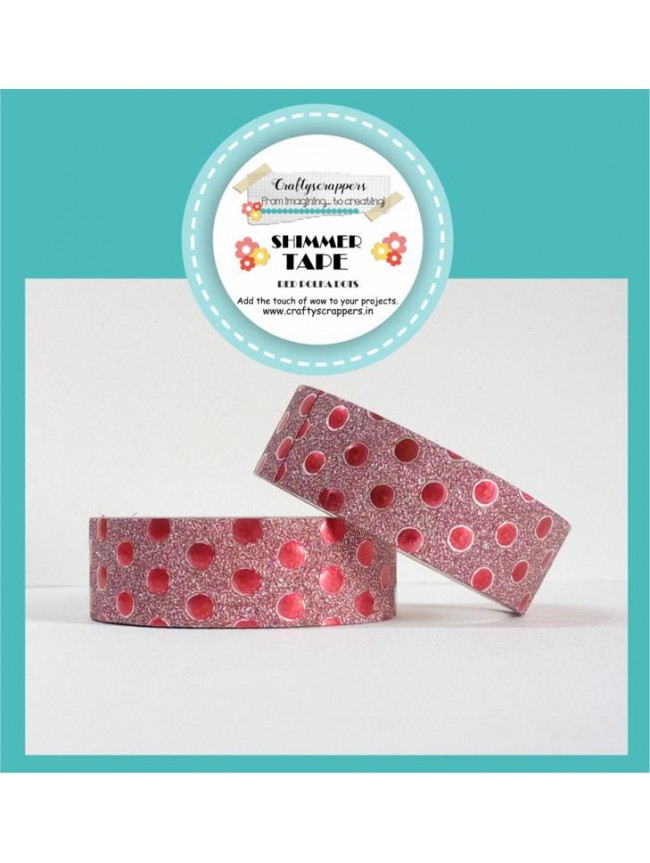 SHIMMER TAPE- RED POLKA DOTS